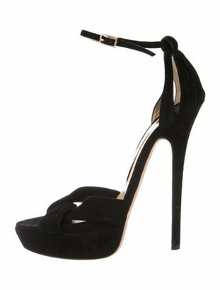 Jimmy Choo Suede Platform Sandals Black