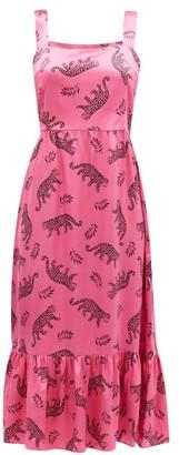 HVN Olympia Leopard-print Silk-satin Dress - Pink Print