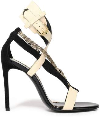 Lanvin Chain-embellished Leather And Suede Sandals