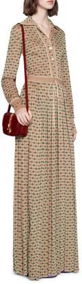 Gucci Square G Viscose Lame Long Dress