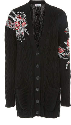 RED Valentino Embroidered Cotton Cardigan