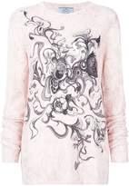Prada cashmere floral intarsia knit sweater