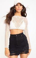 PrettyLittleThing White Super Shred Denim Mini Skirt