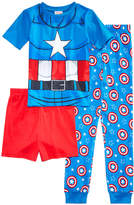 Marvel Marvel's Captain America 3-Pc. Cotton Pajama Set, Little Boys & Big Boys