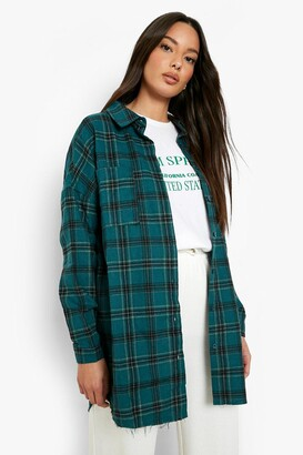 boohoo Oversized Frayed Check Shirt