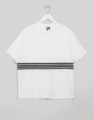 ASOS DESIGN relaxed t-shirt with ribbed panel in white