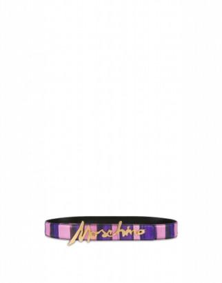 Moschino Printed Belt With Signature Logo Woman Purple Size 38 It - (4 Us)