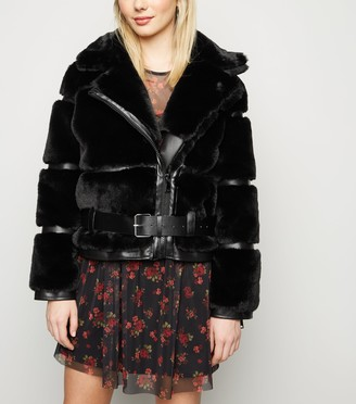 New Look Cameo Rose Faux Fur Panel Jacket