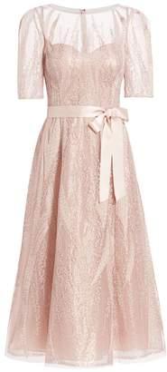 Teri Jon By Rickie Freeman Beaded Tulle Belt A-Line Cocktail Dress