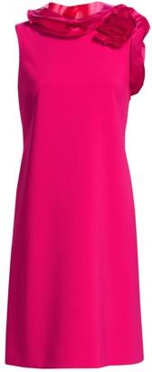 Teri Jon by Rickie Freeman Floral Ruffle Neck Shift Dress