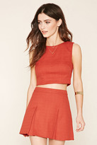 Forever 21 FOREVER 21+ Pleated Twill Mini Skirt