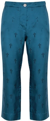 La Prestic Ouiston Lucky blue perforated silk trousers