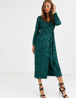 Asos Edition EDITION wrap midi dress in disc sequin-Green