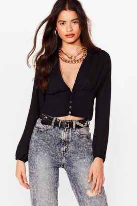 Nasty Gal Womens Deep on Moving Plunging Cropped Blouse - Black - 8