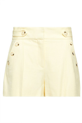 Veronica Beard Pine Button-embellished Woven Shorts