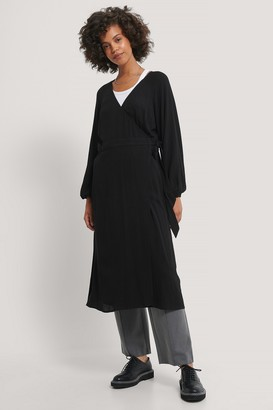 NA-KD Tie Overlap Midi Dress