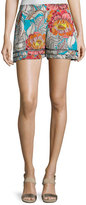 Trina Turk Bubbly Floral Silk Shorts, Soiree Pink