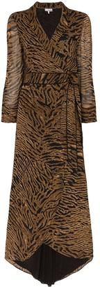 Ganni Tiger Print Wrap Dress