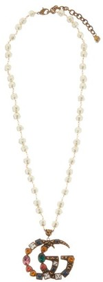 Gucci GG Crystal-embellished Pearl Necklace - Multi