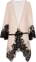 Rosamosario Mezza Luna silk-crepe and lace robe