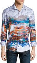 Robert Graham Ghost Towns Printed Long-Sleeve Sport Shirt, Multicolor