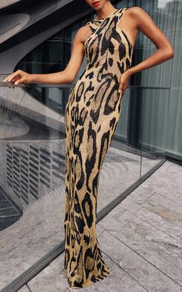 Naeem Khan Leopard Embroidered Halter Gown