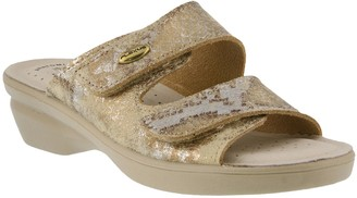 Spring Step Flexus by Leather Slide Sandals - Kina-Metallic