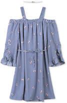 Speechless Striped Butterfly-Print Cold-Shoulder Dress and Choker Set, Big Girls
