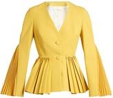 Sara Battaglia Pleated twill tailored jacket
