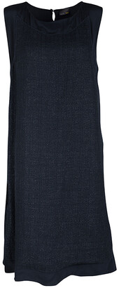 Fendi Navy Blue Silk Textured Panel Detail Sleeveless Shift Dress L