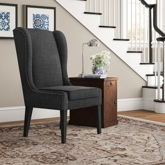 "Three Posts Andover 26.25"" W Polyester Wingback Chair Fabric: Charcoal"