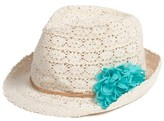 Capelli of New York Girl's Crochet Trilby With Flower - Blue/green