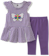 Kids Headquarters 2-Pc. Striped Butterfly Tunic & Capri Leggings Set, Baby Girls
