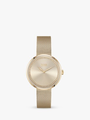 HUGO BOSS Women's Praise Crystal Mesh Bracelet Strap Watch