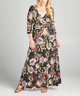 Tua Black & Green Floral Surplice Maxi Dress - Plus