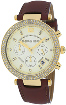 Michael Kors MK2249 Women's Parker Brown Leather Watch with Chronograph