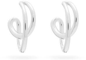 Charlotte Chesnais Mini Initial Rhodium-plated Silver Hoop Earrings - Silver
