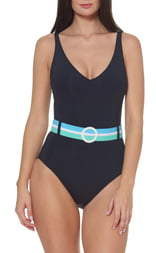4a3a829e4a Belted One Piece Swimsuit - ShopStyle