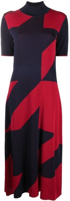 HUGO BOSS Oversize Houndstooth Flared Dress
