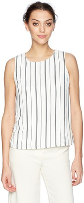 Nine West Women's Striped Blouse with Keyhole Neckline
