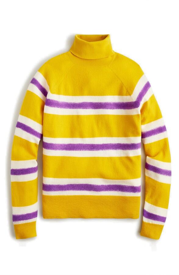 J.Crew Stripe Boiled Wool Turtleneck Sweater