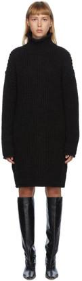 DRAE Black Alpaca Turtleneck Pullover Dress