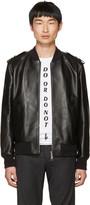 Neil Barrett Black Leather Military Bomber Jacket