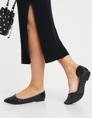 New Look flat quilted pointed shoes in black