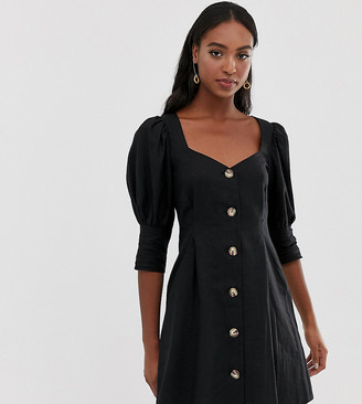 Asos Tall DESIGN Tall scoop neck button through mini dress-Black