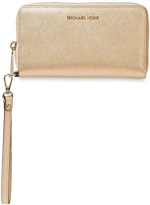 MICHAEL Michael Kors Metallic Textured-leather Wallet