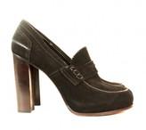 Celine excellent (EX Black Suede High Heeled Loafers sz 41