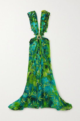 Versace Cutout Embellished Printed Silk-chiffon Gown - Green
