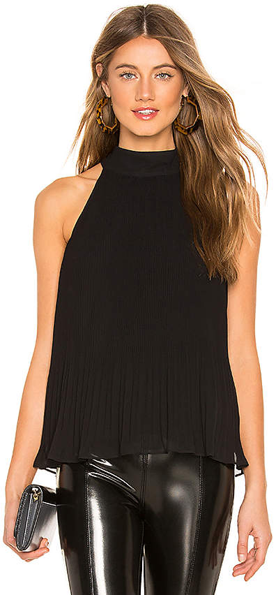 1 STATE Halter Tie Pleated Top