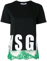 MSGM lace trim logo T-shirt - women - Cotton - M